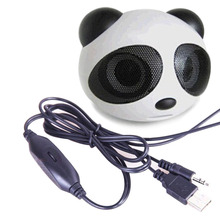 Panda Portable USB 2.0 Mini Digital Square 3.5mm Wired Super Bass Stereo Speaker Subwoofer for Desktop Laptop cellphone(China)