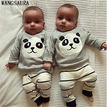 WANGSAURA HOT Toddler baby Boys Cute Panda Bear T-shirt +Striped Pants Infant Clothes Outfits 2pcs Sets