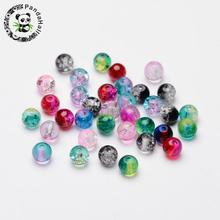 6mm Mixed Color Round Two Tone Crackle Glass Beads Hole: 1.3~1.6mm 200pcs /lot(China)