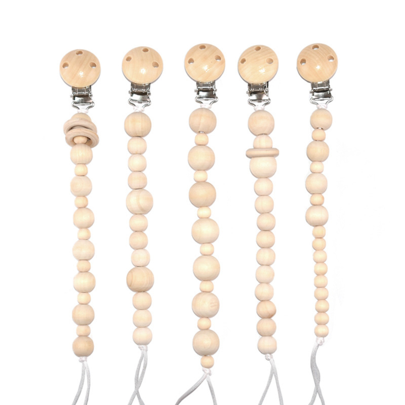 ideacherry Baby Pacifier Chain Dummy Nipple Clips Newborn Beaded Wooden Soother Holders Pacifiers Teethers Chains Accessories