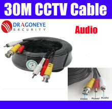 30M 100FT CCTV Cable BNC DC RCA Video Power Audio Cable BNC RCA for analog camera