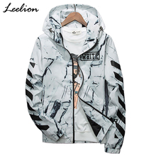 LeeLion 2018 New Striped Off White Jacket Men Fashion Hooded Coat Hip Hop Streetwear Slim Fit Windbreaker Spring Casual Clothing(China)