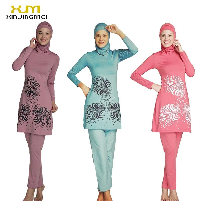 2017 Plus Size Muslim Swimwear Women Modest Floral Print Full Cover Swimsuit Islamic Hijab Islam Burkinis Beachwear Bathing Suit<br>