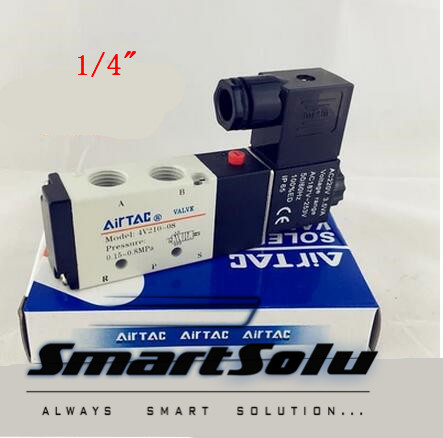 Free-Shipping-1-4-2-Position-5-Port-AirTAC-Air-Solenoid-Valves-4V210-08-Pneumatic-Control