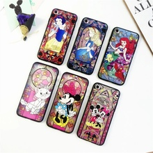 Stained Glass Styles Snow White Alice in Wonderland Mermaid Micky Soft TPU Frame + Back Acrylic Case for iPhone 7 7 Plus 6 6s