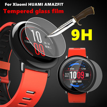 5pcs/lot wholesale Premium 9H Tempered Glass Screen Protector Skin Film Guard for Xiaomi Huami Amazfit Sports Watch