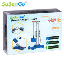 SuSenGo Electronic Toy Building Blocks Powered Mechanical Crane with Led light Children Kids Gift