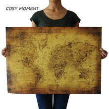 COSY MOMENT Retro World Map Kraft Paper Paint Vintage Wall Sticker Poster Living Room Art Crafts Maps bar cafe wall Deco QT009