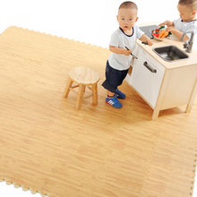 9pcs 30 X 30cm EVA Foam Floor Mat Wood-like Cushion Pieced Carpet Faux Wood Grain Ground Mat for Kitchen Bedroom