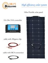 Boguang 100w flexible solar panel Solar moudle High efficiency monocrystalline silicon cell for 12v battery RV yacht charge(China)