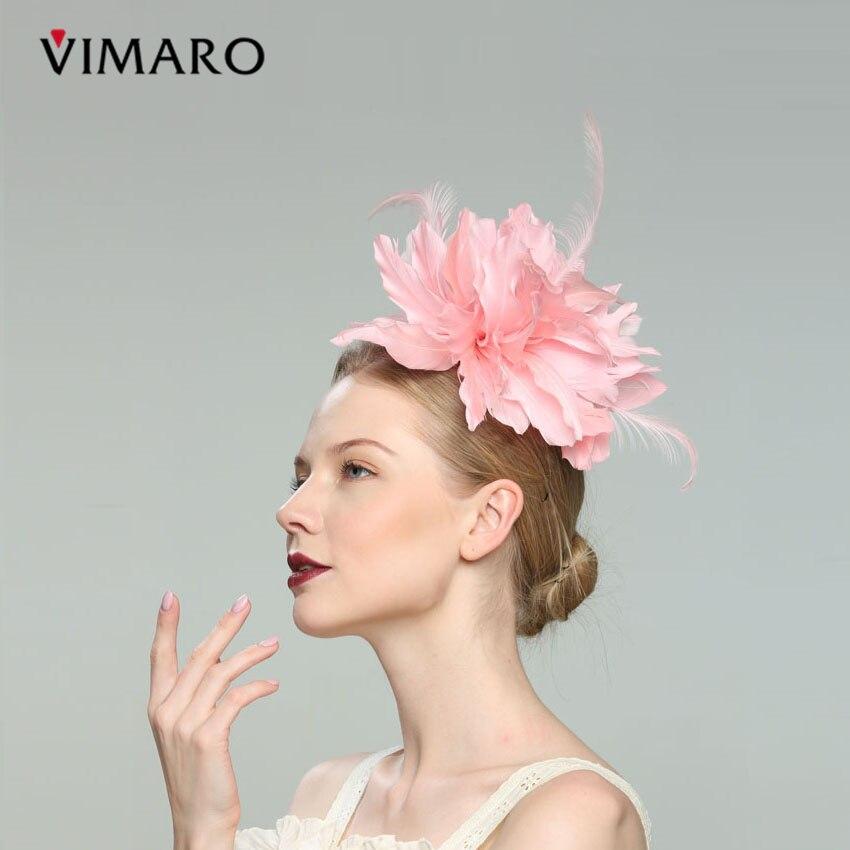 2019 Vimaro Pink Flower Feather Wedding Fascinator Party Hair