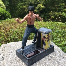 New Bruce Lee doll toy hand model real money do Bruce Lee ornaments solar car classic collection(China)