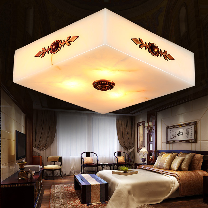 Hot sale Simple modern square ceiling full copper marble material LED ceiling lamp for family bedroom study dining room<br><br>Aliexpress