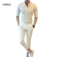 Spring Summer New Men's Sets (shirt+pant) High Quality Male Fashion Business Casual Shirt Slim Fit Suit Trousers