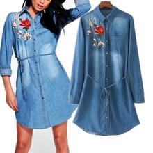 2017 women clothing long sleeve embroidery lace-up washed denim shirt dress Female fashion casual loose mini jeans dresses S983