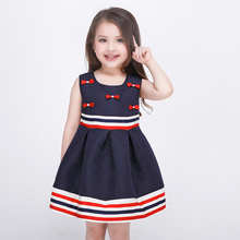 Red Bow Girls Striped Dress Sleeveless Europe Royal Style Fashion Kids Party Princess Dresses Summer Cotton Children Clothes