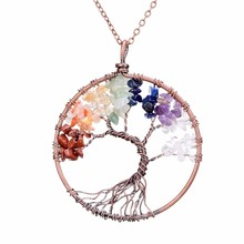 Tree of Life Handmade 7 Chakra Natural Stone Pendant Necklace Vintage Copper Opal Reiki Healing Crystal Choker Necklace Women