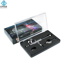 OPHIR 0.3mm Dual Double Action Airbrush Kit Airbrushing Gun for Temporary Tattoo/Nail Art/Cake Decorating/Makeup Air Brush_AC004(China)