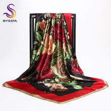 [BYSIFA] China Roese Large Square Scarves For Spring Autumn 2017 New Design Red Black Flowers Silk Scarf Brand Muslim Head Scarf