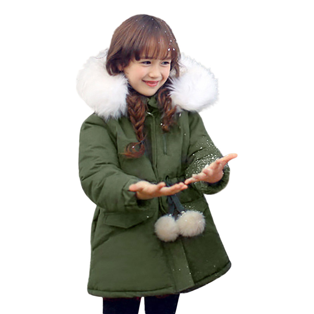 Girls Jackets &amp; Coats Boys Clothes Kids 2018 Cotton Hooded Baby Girl Winter Jacket with Ball Fur Collar Warm Boys Coat Children<br>