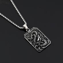 Vintage Style Stainless Steel Dragon Dog Tag Antique Silver Pendant Necklace No Fading Hip Hop Jewelry For Men Boys Chain