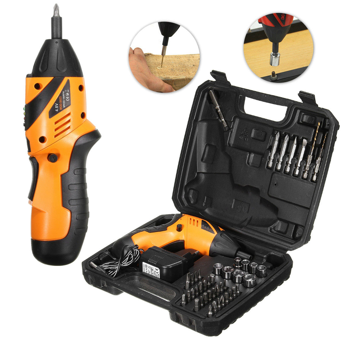 Good Quality 45 in 1 Electric Cordless Screwdriver Drill Power Tool Rechargeable Fold Driver With Plastic Box Package<br>
