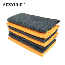 1pc SEEYULE Waffle Style Car Wash Towel Microfiber Strong Water Absorption Durable Cleaning Cloth for Car Home Kitchen Window(China)
