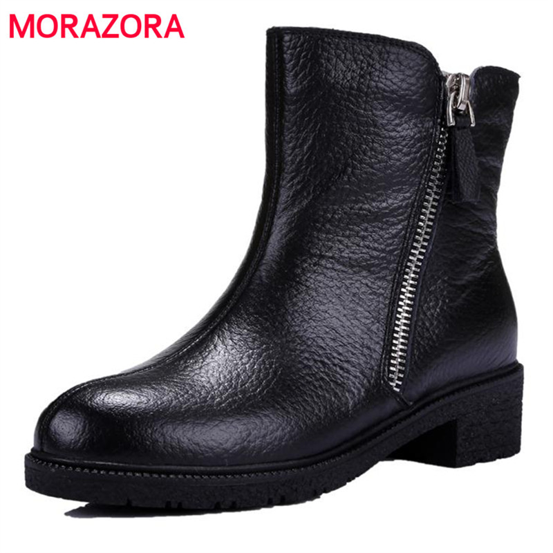 MORAZORA Microfiber + genuine leather boots winter women shoes ankle boots zipper solid contracted fashion boots low heels <br><br>Aliexpress