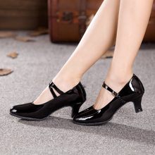 Women Ladies Ballroom Latin Dance Shoes PU Indoor Suede Sole Tango Salsa Dancing Shoes Heeled 3.5cm/5.5cm/7cm All Size EU 34-43