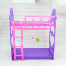 Free shipping girl birthday gift plastic bed for barbie doll mini kelly doll play house accessories gift toy for girl(China)