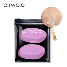 O.TWO.O 2pcs/lot Pink Make Up Kit Silicone Puff Transparent Silica Flawless Powder Sponge Makeup Puff