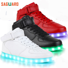 SAGUARO Children Fashion Luminous Shoes High Top LED Light USB Charge Flashing Sneakers Kids Boys Girls Casual Glowing Shoes