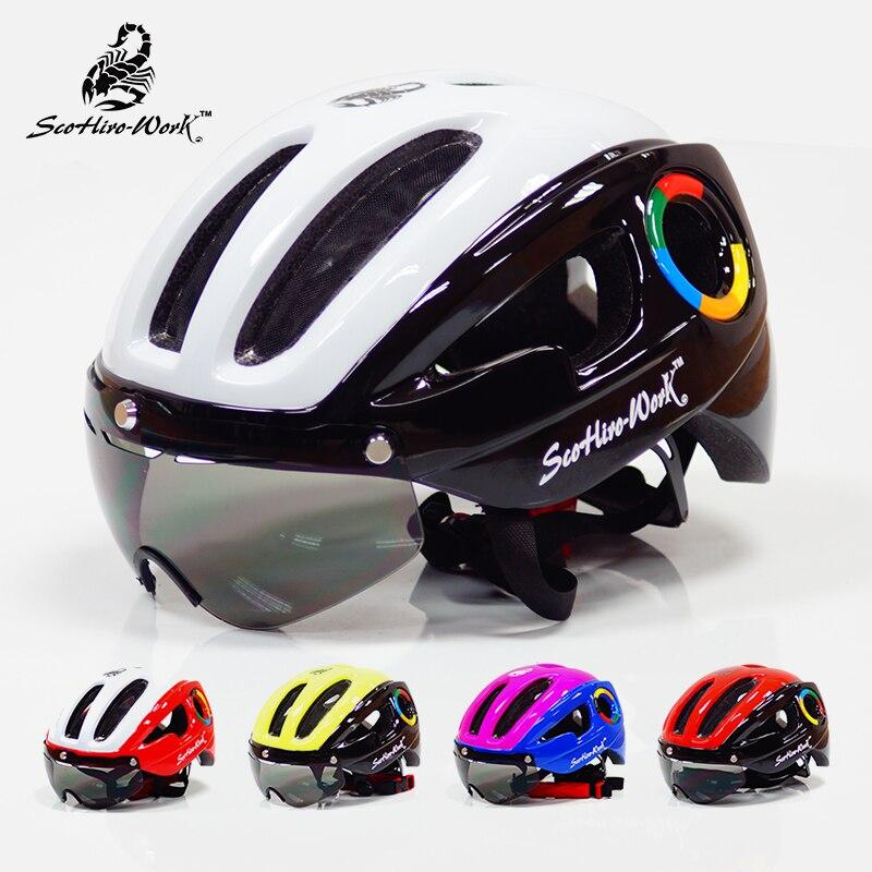 270g ultralight EPS bicycle helmet for men road mtb mountain bike helmet lenses goggles cycling equipment 9 vents Casco Ciclismo<br>