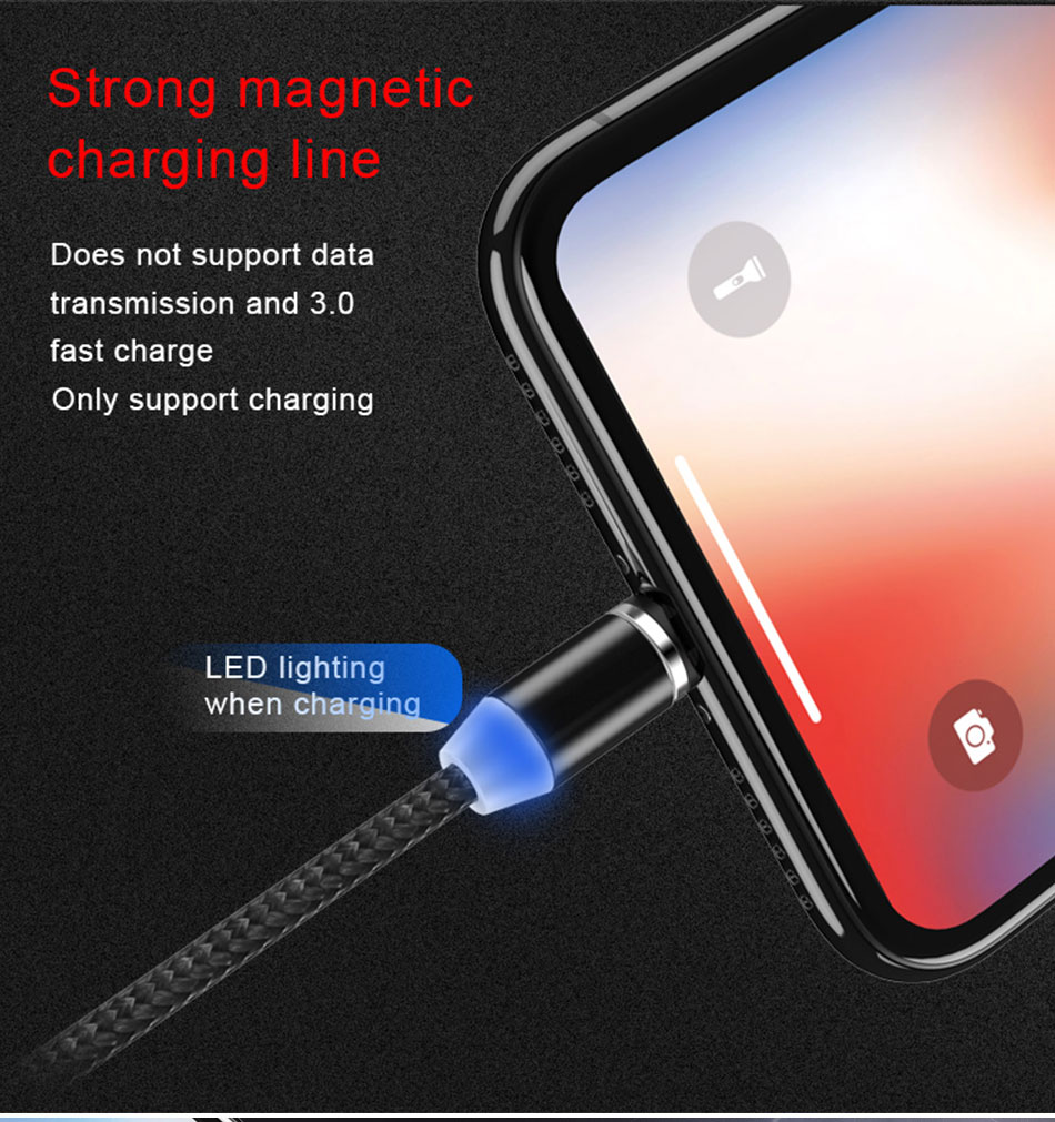 NOHON Strong Magnetic Long Charger Cables 8 Pin For iPhone XS MAX XR X 8 Plus Charging Cable Micro USB Type-C For Samsung S8 2M (2)