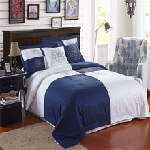 White Blue Color 40S Cotton Hotel Bedlinen Sets,4pc Bed Sheet ,100% Cotton 133x72 High Quality King Hotel Bedding