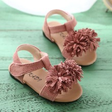 Koovan Children Sandals 2017 Summer Girls Baby Tassel Flowers Sandals Soft Base Exposed Toe Princess Shoes 1 2 3 Years Beach