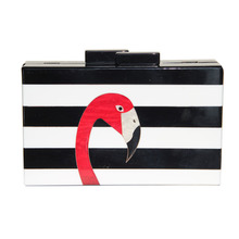 2017 Women messenger bags brand fashion wallet European high-end elegant black and white striped acrylic Flamingo casual clutch