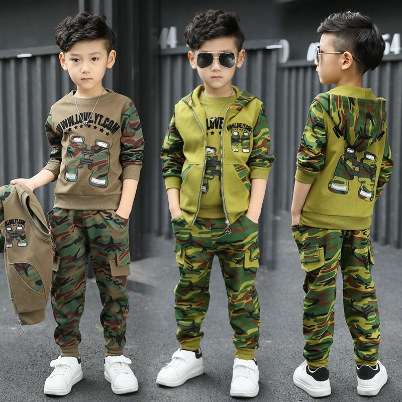 Boys Sports Clothing Sets 2017 Winter Kids Camouflage Print Clothes Sets Children Boys Clothing Sets Vest + Sweatshirts + Pants<br>