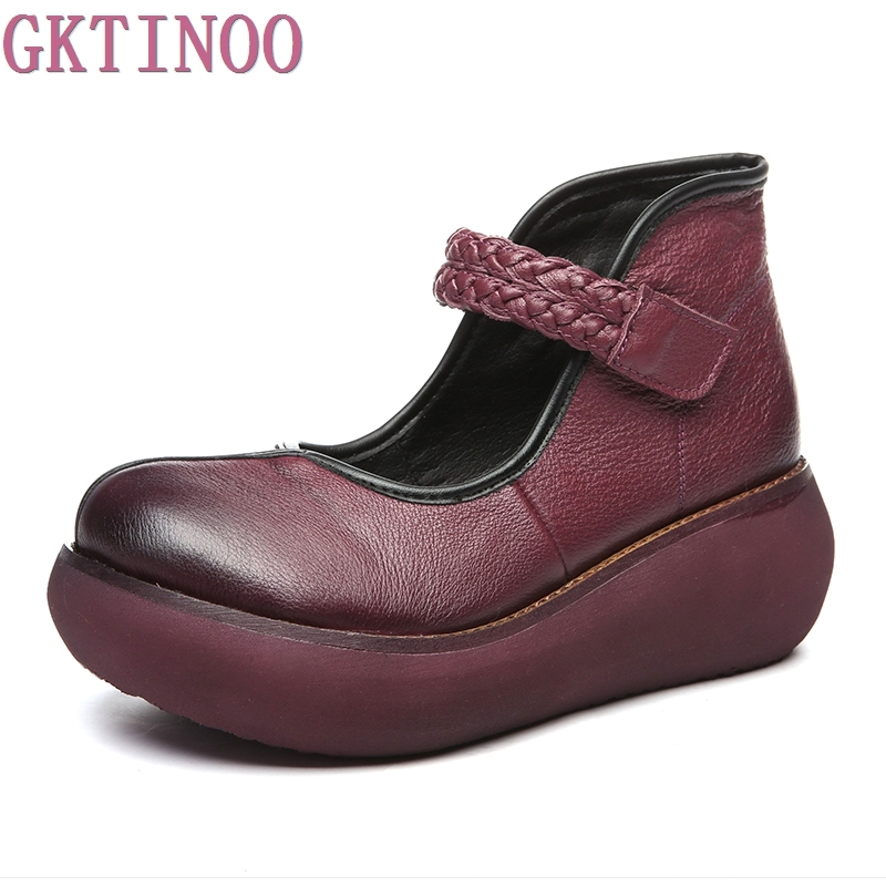2018 Spring Genuine Leather Women Pumps Platform Wedges Round Toes Ankle Strap High Heel Women Shoes <br>