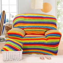Colorful stripes stretch sofa cover for living room,100% polyester corner sofa cover,multi-size anti-slip couch sofa cover plush