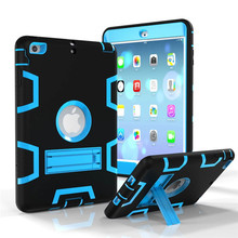 Case for iPad Mini 2 3 1 Shockproof Heavy Duty Plastic+Rubber Cover for iPad Mini 3 Tablet case Hybrid 3in 1 with Stand Holder