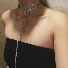 LWONG Sexy Long Rhinestone Choker Necklace Jewelry Double-Strand Layered Choker Rhinestones Crystal Chokers Long Necklace Women(China)