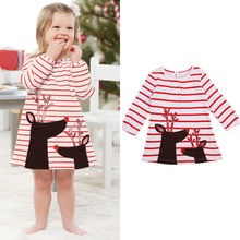 2017 Newborn Baby Girl Long Sleeve Christmas Deer Casual Little Girls' Dresses Soft Cotton Cute One Piece Dress
