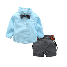 summer Handsome formal baby boys clothing sets infant Children's tie shirt+overalls party wedding two-piece suit boys clothes
