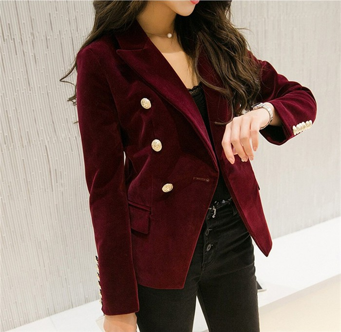 2016 New Spring Fashion Women Midnight Navy Slim Velvet Blazer Jacket Double Breasted simple Lady Blazers (12)