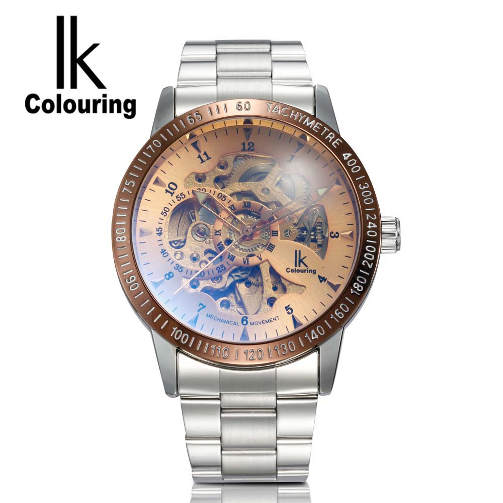 New  IK Colouring Fashion Mechanical Skeleton Watch Auto Stainless Steel Mens Watches Wristwatch Montre Homme<br>