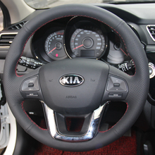 Black Leather Hand-stitched Car Steering Wheel Cover for Kia K2 Kia Rio 2011 2012 2013(China)