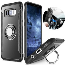 Case for Samsung Galaxy S8 S7 Edge Car Holder Stand Magnetic Suction Ring Bracket Hybrid PC + TPU Armor Cover For Galaxy S8 Plus