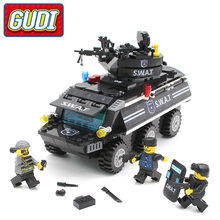 GUDI SWAT Armored Vehicles Blocks 349pcs Bricks Building Block Sets Models Educational Toys For Children(China)