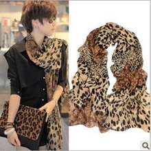 2014 Factory price ladies leopard print large chiffon scarf pashmina female luxury scarves For women muffler wrap capes